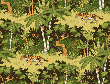 Leopardo caminando en la selva. Patrón sin costuras para textil, diseño y decoración.