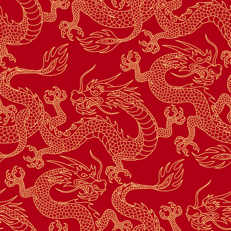 Chinese dragons fighting, gold outlines on red. Seamless pattern for textile and decoration. Stock Illustratie