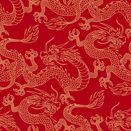 Dragons chinois combattant, contours dorés sur rouge. Modèle sans couture pour le textile et la décoration.