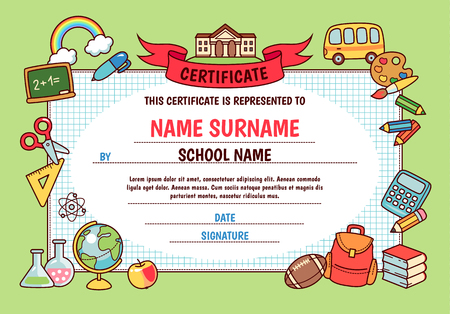 Diploma for elementary school. Cute template with frame of cartoon school objects and symbols on green background