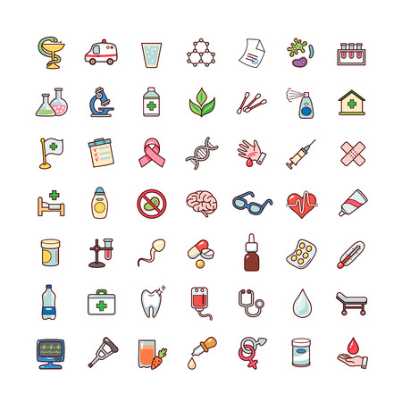 Collection of objects and symbols for medicine. Set of cartoon icons isolated on white background.   Illustration