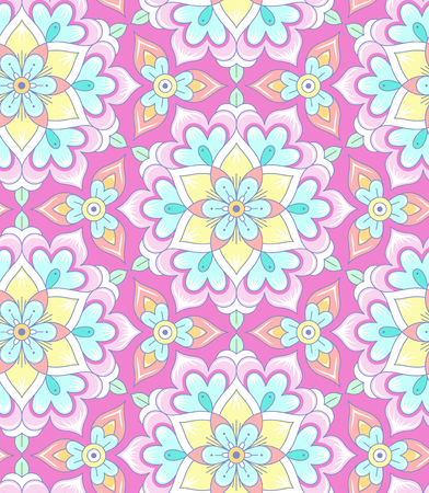 Pastel floral rosettes on pink background. Abstract seamless pattern for your design Illustration