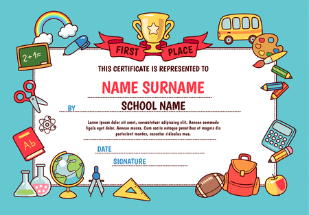 Diploma for elementary school. Cute template with frame of cartoon school objects and symbols on blue background