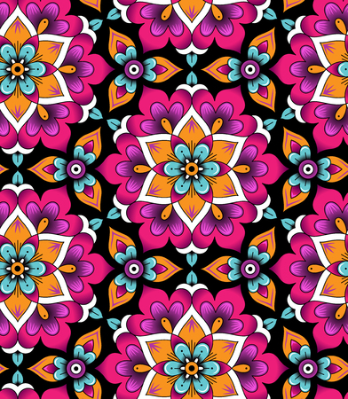 Marrakesh floral rosettes on black background. Abstract seamless pattern for your design