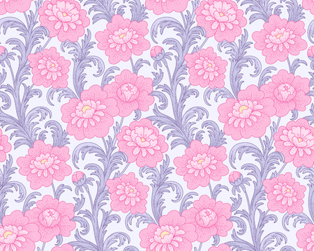 Victorian style pattern with violet waving leaves and pink peonies. Seamless pattern for your design and decoration  Çizim