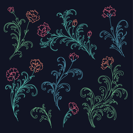 Set of baroque style floral elements. Illustration stylized with glowing neon on dark blue background Stok Fotoğraf - 100787918