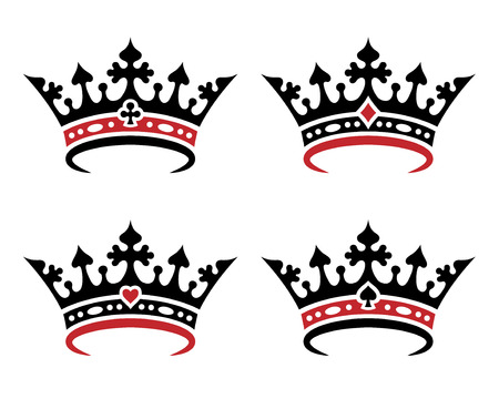 Ein Satz königlicher Kronen zum Spielen von Karten. Objekte isoliert auf weißem Hintergrund Vektorgrafik