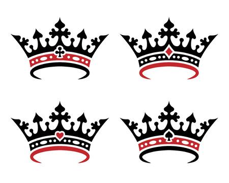 Un set di corone reali per giocare a carte. Oggetti isolati su sfondo bianco Vettoriali
