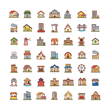 Collection of architecture objects and symbols for map. Set of cartoon icons isolated on white background.