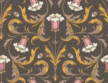 Fiori di campana rosa in stile vittoriano con foglie d'oro su sfondo scuro. Elegante modello senza cuciture per la progettazione e la decorazione di tessuti Archivio Fotografico - 100977068