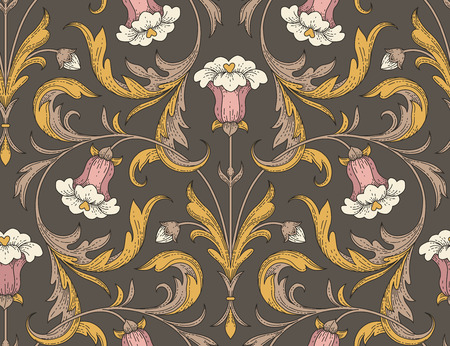 Victorian style pink bell flowers with golden leaves on dark background. Elegant seamless pattern for textile design and decoration