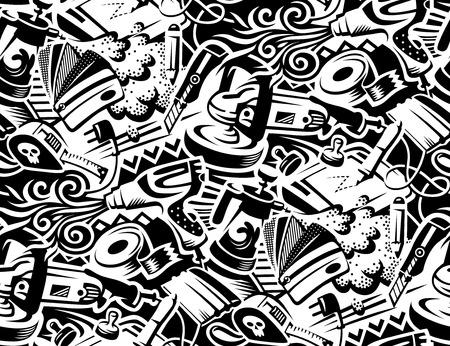 Herramientas para pegar películas de vinilo de coche. Ilustración de estilo Graffity. Patrones sin fisuras para su diseño Ilustración de vector