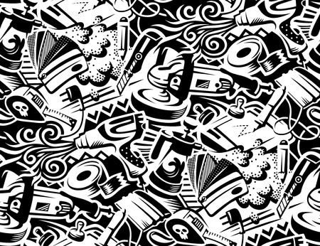 Tools for vinyl film pasting of car. Graffity style illustration. Seamless pattern for your design  Çizim
