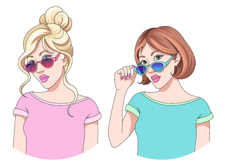 Portraits of two young beautiful girls in sunglasses, blonde and brunette. Modern pretty women in t shirts. Cartoon style illustration isolated on white background