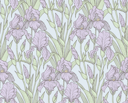 Vintage style pattern with violet iris flowers. Elegant seamless pattern for your design and decoration