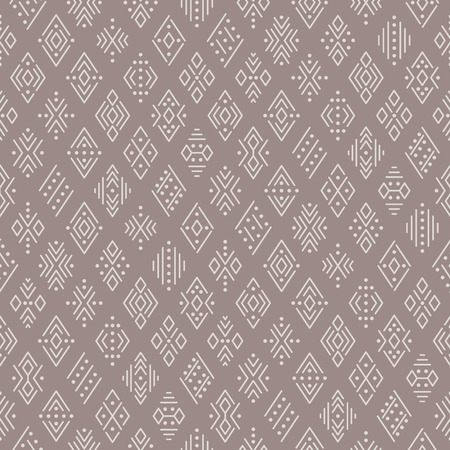 Ethnic boho seamless pattern for textile and design. Light geometric ornament on brown background