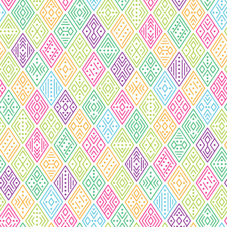 Ethnic boho seamless pattern for textile and design. Multicolor geometric ornament on white background