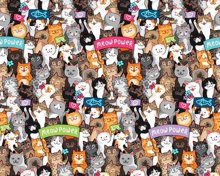 Sfilata di gatti con slogan. Molti simpatici personaggi in stile cartone animato. Modello multicolore senza cuciture per tessile, design e decorazione
