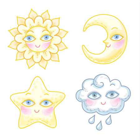 Set of cute cartoon characters. The sun, moon, star and cloud has a funny faces with eyes. Collection of llustrations isolated on white background.