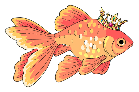 Goldfish at gold crown. Cartoon style character isolated on white background Ilustración de vector