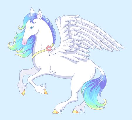 Elegant white Pegasus stands on hind legs. Pegasus has blue mane and white wings. Ð¡artoon character on blue background Standard-Bild - 104208497