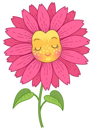 La flor rosa tiene una cara divertida con los ojos cerrados. Personaje de dibujos animados lindo aislado sobre fondo blanco.