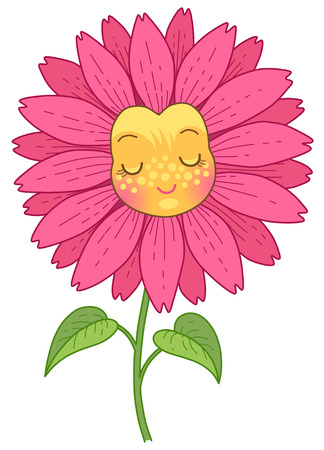 Pink flower has a funny face with closed eyes. Cute cartoon character isolated on white background.