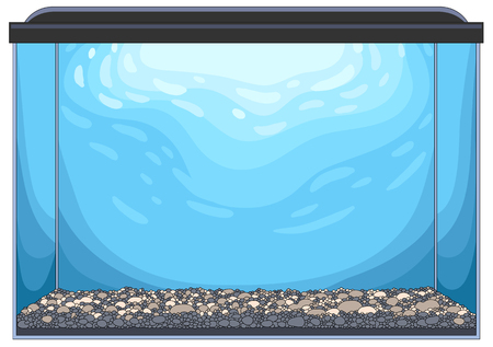 Rectangular glass aquarium with pebble ground and blue water. Empty template for your design and collages, vector illustration, isolated on white background