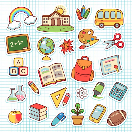 Set of cartoon objects for elementary school. Collection cute stickers on checkered background  Ilustracja