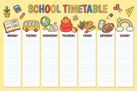 Orario per la scuola elementare. Modello di pianificatore settimanale con oggetti e simboli della scuola dei cartoni animati su sfondo giallo