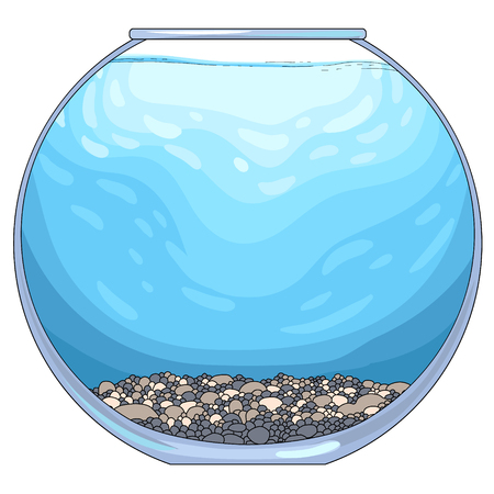 Round glass aquarium with pebble ground and blue water. Empty template for your design and collages, vector illustration, isolated on white background  Illustration
