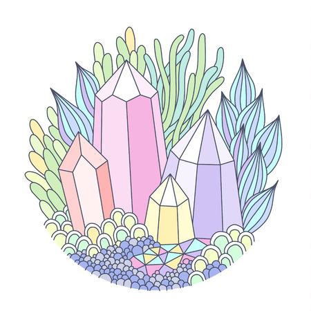 Emblema redondo con cristales multicolores y fantásticas plantas. Ilustración de estilo Doodle aislado sobre fondo blanco Ilustración de vector