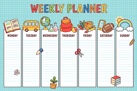 Weekly planner for elementary school. Cute template with  cartoon school objects and symbols on blue background Ilustracja