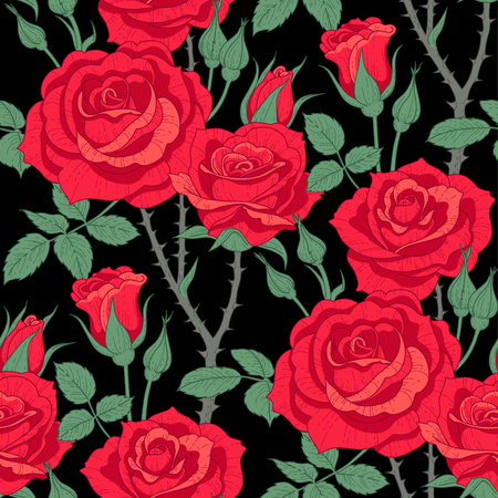 Floral seamless pattern of red roses on black background. Pattern at provence style  for textile, design and decoration