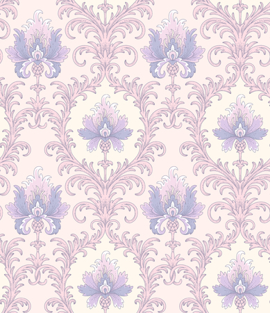 Baroque style pattern with blue cornflowers in pink cartouches. Vintage seamless pattern for your design and decoration