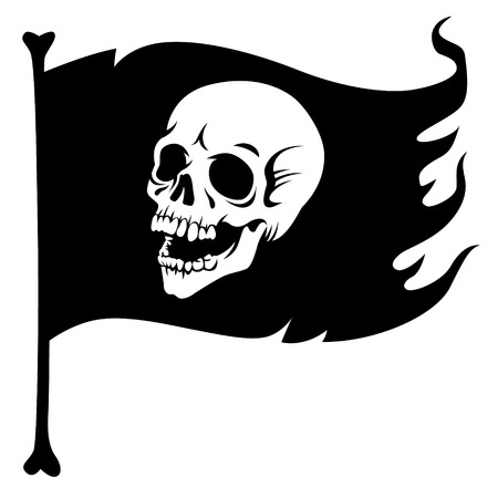 Pirate flag, with laughing human skull. Jolly Roger, stylized black illustration isolated on white background