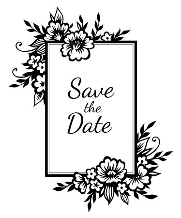 Romantic rectangular frame with stylized black flowers and twigs. Template for wedding design, decoration and scrapbooking. Monochrome black illustration isolated on white