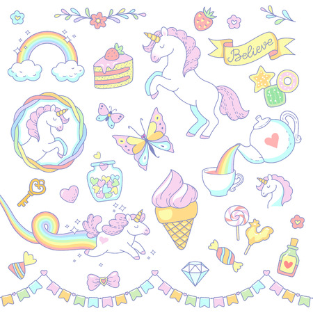 Cartoon unicorns, sweets, rainbow isolated on white background. Set of cute  objects and design elements for scrapbooking, design and decoration.