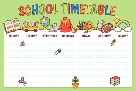 Timetable for elementary school. Weekly planner template with  cartoon school objects and symbols on green background Ilustracja