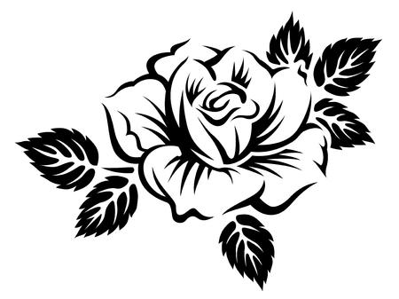 Rosa floreciente estilizada. Ilustración monocromática negra aislada sobre fondo blanco