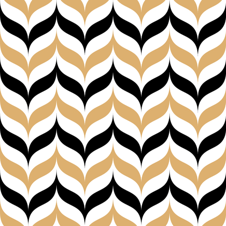 Abstract seamless pattern for textile and design. Modern geometric ornament of black and gold elements