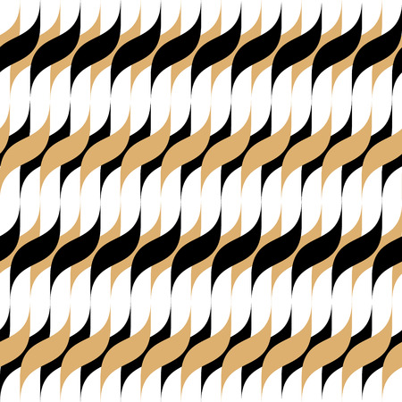 Abstract seamless pattern for textile and design. Modern geometric ornament of black and gold elements Illustration