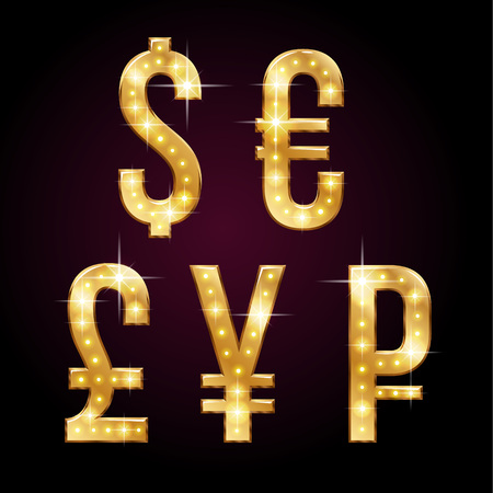 Golden shining symbols of  money currencies with sparkling LEDs. Glamorous alphabet for your design on dark background