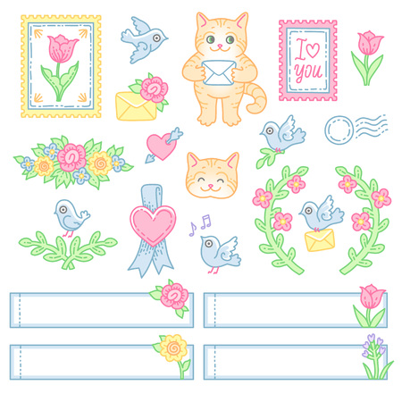 A set of cute decorative elements, characters and stickers for the design of postal envelopes. Illistrations at cartoon style isolated on white background