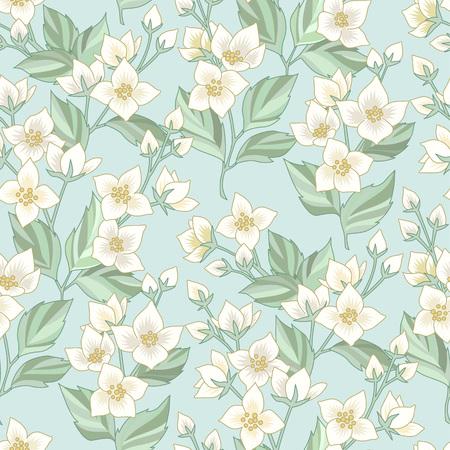 Patrón floral transparente con jazmín blanco sobre fondo azul. Patrón al estilo provenzal para textil, diseño y decoración.