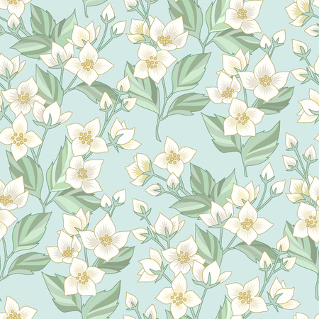 Floral seamless pattern with white jasmine on blue background. Pattern at provence style  for textile, design and decoration