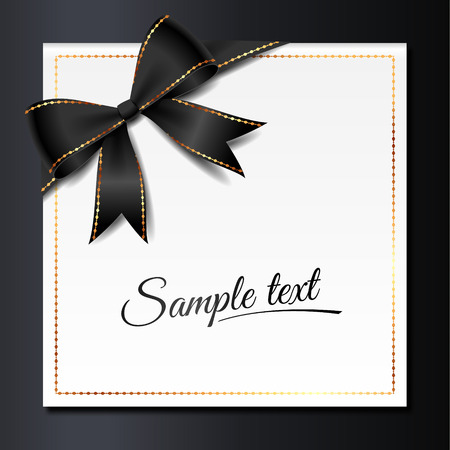 Template of elegant invitation card with black bow and golden frame