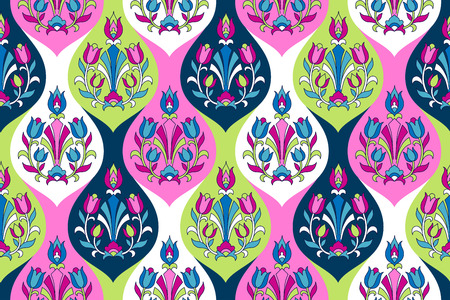 Indian style ornament  with floral elements on color mosaic tiles. Seamless pattern for textile and decoration