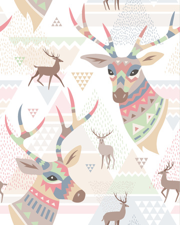 Heads of deers decorated ornament and silhouette of deers on abstract geometric background. Seamless pattern at scandinavian style for textiles and design Vettoriali