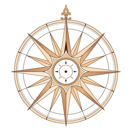 Sea compass at vintage style. Vector illustration isolated on white background